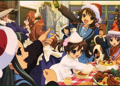 school uniforms, The Melancholy of Haruhi Suzumiya, Christmas - random desktop wallpaper