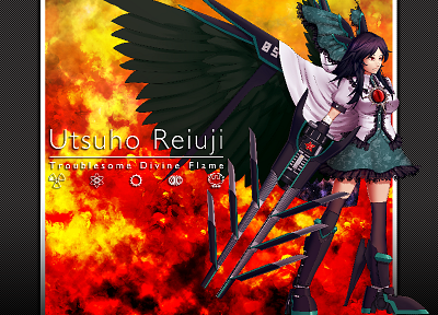 Touhou, wings, skirts, weapons, mechanical, thigh highs, cannons, capes, Reiuji Utsuho, anime girls - related desktop wallpaper