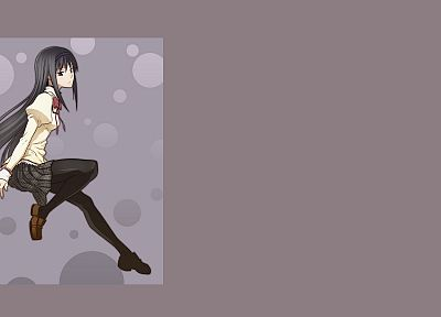 brunettes, tights, Mahou Shoujo Madoka Magica, anime, Akemi Homura, simple background, anime girls - random desktop wallpaper