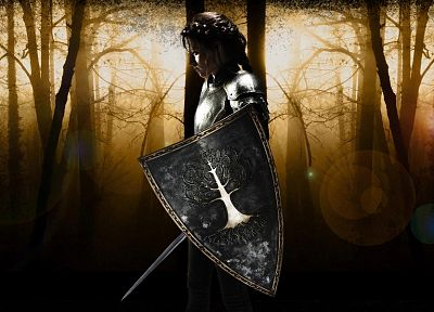 fantasy, Kristen Stewart, trees, forests, actress, promotional, armor, shield, braids, swords, Snow White and the Huntsman - desktop wallpaper