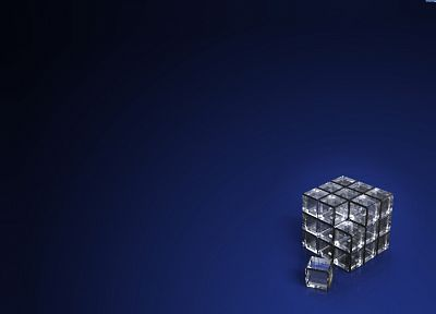 3D view, glass, crystals, Rubiks Cube - random desktop wallpaper
