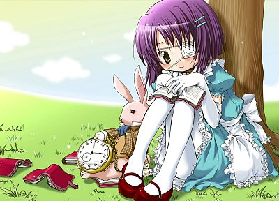 bunnies, Alice in Wonderland, clocks, eyepatch, wonder, purple hair, short hair, yellow eyes, lolita fashion, anime girls, Clovers - random desktop wallpaper