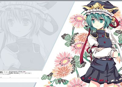 video games, Touhou, uniforms, flowers, skirts, ribbons, green eyes, short hair, green hair, hats, Shikieiki Yamaxanadu - related desktop wallpaper
