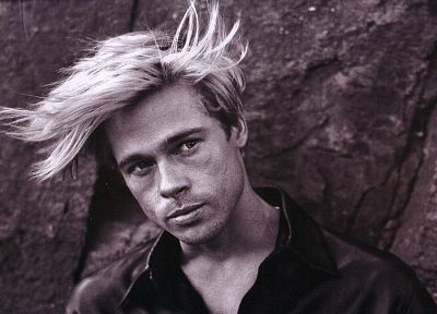American, men, Brad Pitt, monochrome, actors - related desktop wallpaper