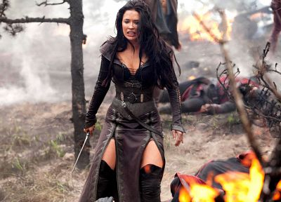 leather, brunettes, women, Bridget Regan, Legend Of The Seeker, actress, series - related desktop wallpaper
