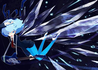 video games, ice, Touhou, wings, stockings, tie, Cirno, guitars, upscaled - desktop wallpaper