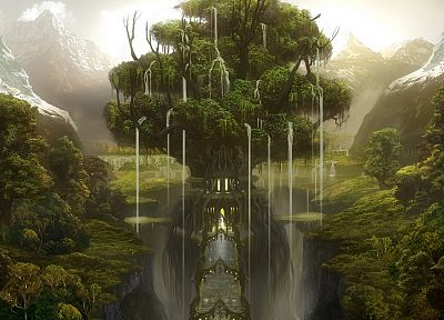 fantasy, nature, trees, fantasy art, waterfalls - related desktop wallpaper