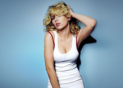 women, Scarlett Johansson, simple background - random desktop wallpaper