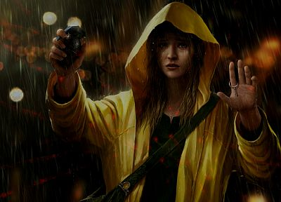 women, scope, black, dark, night, rain, yellow, tears, revolution, protest, grenades, artwork, lasers - desktop wallpaper