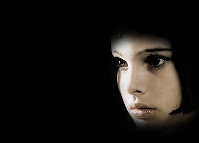 women, actress, Natalie Portman, Leon The Professional, Mathilda, faces, black background - desktop wallpaper