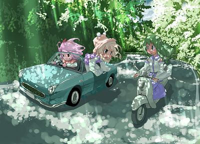 blondes, Touhou, trees, cars, leaves, chibi, long hair, snakes, green eyes, Goddess, pink hair, Miko, red eyes, short hair, green hair, sunlight, roads, Moriya Suwako, vehicles, open mouth, ponytails, motorbikes, Kochiya Sanae, Yasaka Kanako, hats, detach - related desktop wallpaper