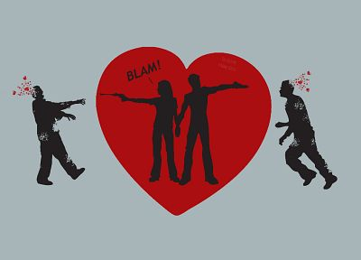 guns, zombies, couple, hearts - random desktop wallpaper