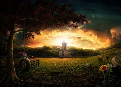 sunset, illustrations, churches, farms - desktop wallpaper