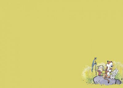 Calvin and Hobbes, simple background - desktop wallpaper