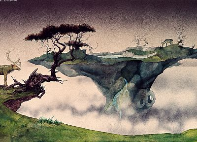 nature, deer, Roger Dean - random desktop wallpaper