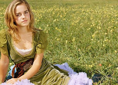 women, Emma Watson, grass, green dress - desktop wallpaper