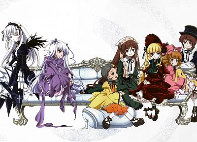 Rozen Maiden, Shinku, Suiseiseki, Suigintou, Souseiseki, Kanaria, anime, Hina Ichigo, simple background, Barasuishou - related desktop wallpaper