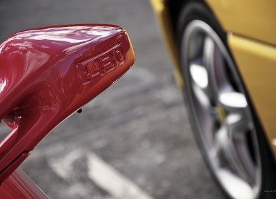 close-up, red, yellow, cars, Ferrari, vehicles, Ferrari F430 - related desktop wallpaper