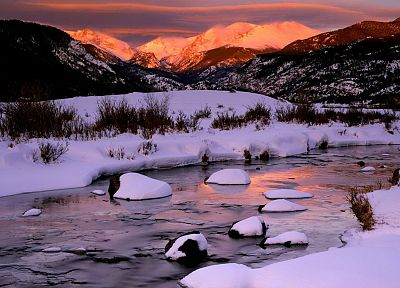sunrise, mountains, winter, snow, rocks, Colorado, rivers, National Park - related desktop wallpaper
