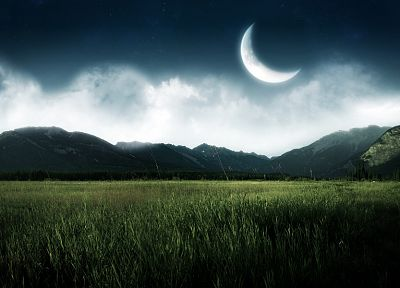 mountains, nature, Moon, fields - random desktop wallpaper