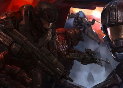 soldiers, video games, futuristic, flying, Halo, armor, artwork - related desktop wallpaper