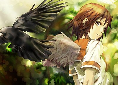 angels, wings, Haibane Renmei, rakka, school uniforms, anime girls, halos - random desktop wallpaper