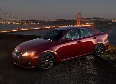 cars, Golden Gate Bridge, Lexus, red cars - random desktop wallpaper