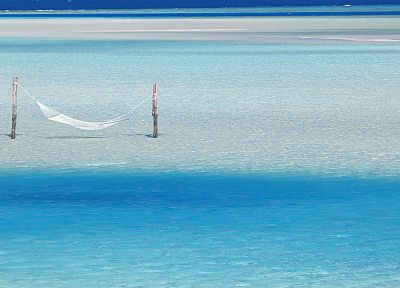water, ocean, hanging, Maldives, hammock, Indian - random desktop wallpaper