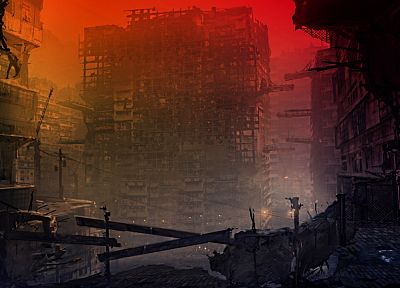 cityscapes, post-apocalyptic, architecture, buildings, artwork, apocalyptic - related desktop wallpaper