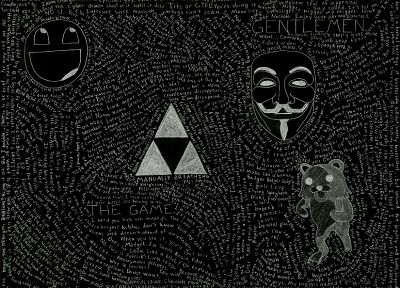 Pedobear, triforce, Guy Fawkes, Awesome Face - random desktop wallpaper
