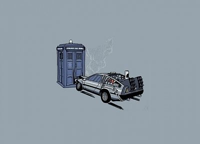 minimalistic, cars, TARDIS, vectors, Back to the Future, time travel, vehicles, Doctor Who, DeLorean DMC-12, simple background - random desktop wallpaper