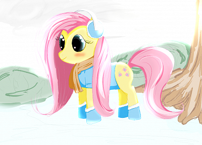 snow, Christmas, My Little Pony, Fluttershy - desktop wallpaper