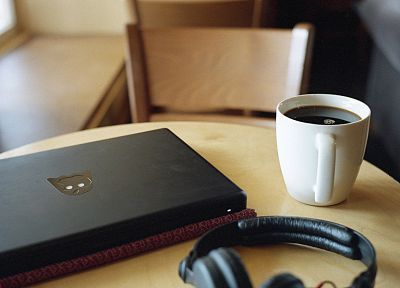 headphones, coffee - random desktop wallpaper