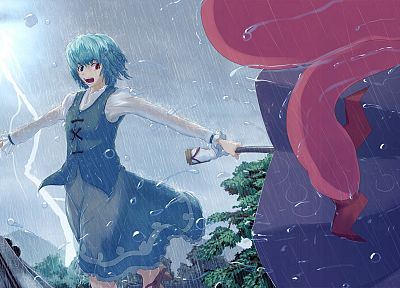 women, Touhou, blue hair, short hair, umbrellas, Tatara Kogasa - related desktop wallpaper