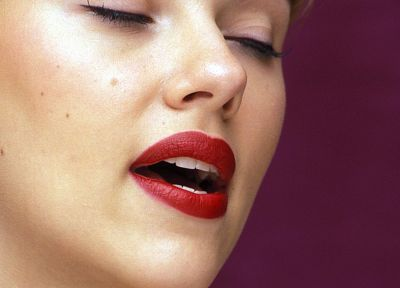 women, Scarlett Johansson, actress, lips, closed eyes - random desktop wallpaper