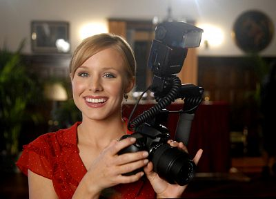 women, Kristen Bell, actress, cameras - random desktop wallpaper