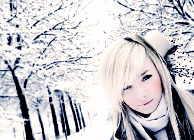 blondes, women, winter, Laura Ivana, hats - desktop wallpaper