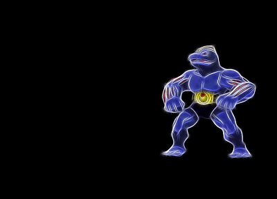Pokemon, Machoke, black background - random desktop wallpaper