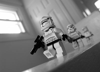 stormtroopers, grayscale, monochrome, Legos - related desktop wallpaper