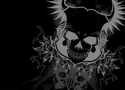skulls, black - random desktop wallpaper