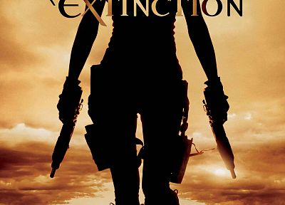 Resident Evil, silhouettes, movie posters, Resident Evil: Extinction - random desktop wallpaper
