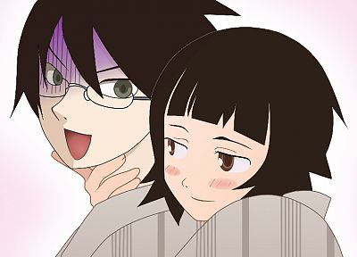 Sayonara Zetsubou Sensei, Itoshiki Nozomu, simple background, Zetsubou, black hair, Tsunetsuki Matoi - related desktop wallpaper