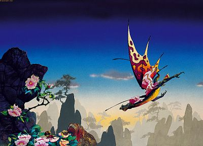 dragons, flowers, fantasy art, Roger Dean, artwork - related desktop wallpaper