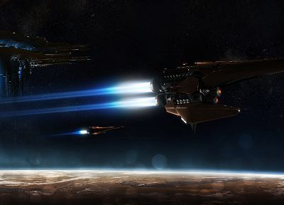 outer space, planets, spaceships, space station, vehicles - desktop wallpaper