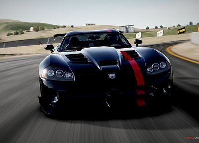 video games, black, cars, Dodge, vehicles, Dodge Viper, Dodge Viper SRT-10, front view, Dodge Viper SRT-10 ACR, Forza Motorsport 4 - related desktop wallpaper