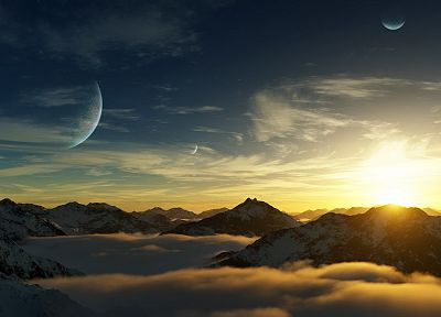mountains, landscapes, nature, planets, photo manipulation - related desktop wallpaper