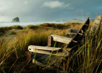 nature, coast, grass, chairs, sea - related desktop wallpaper