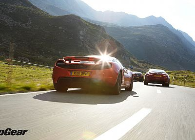 mountains, cars, Top Gear, roads, McLaren MP4-12C, Jaguar XK, Ford Mustang Shelby GT500 - related desktop wallpaper