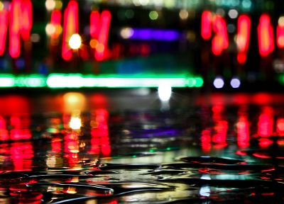 water, night, city lights, depth of field - random desktop wallpaper