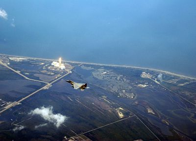 aircraft, military, Space Shuttle, planes, F-15 Eagle, Cape Canaveral - random desktop wallpaper